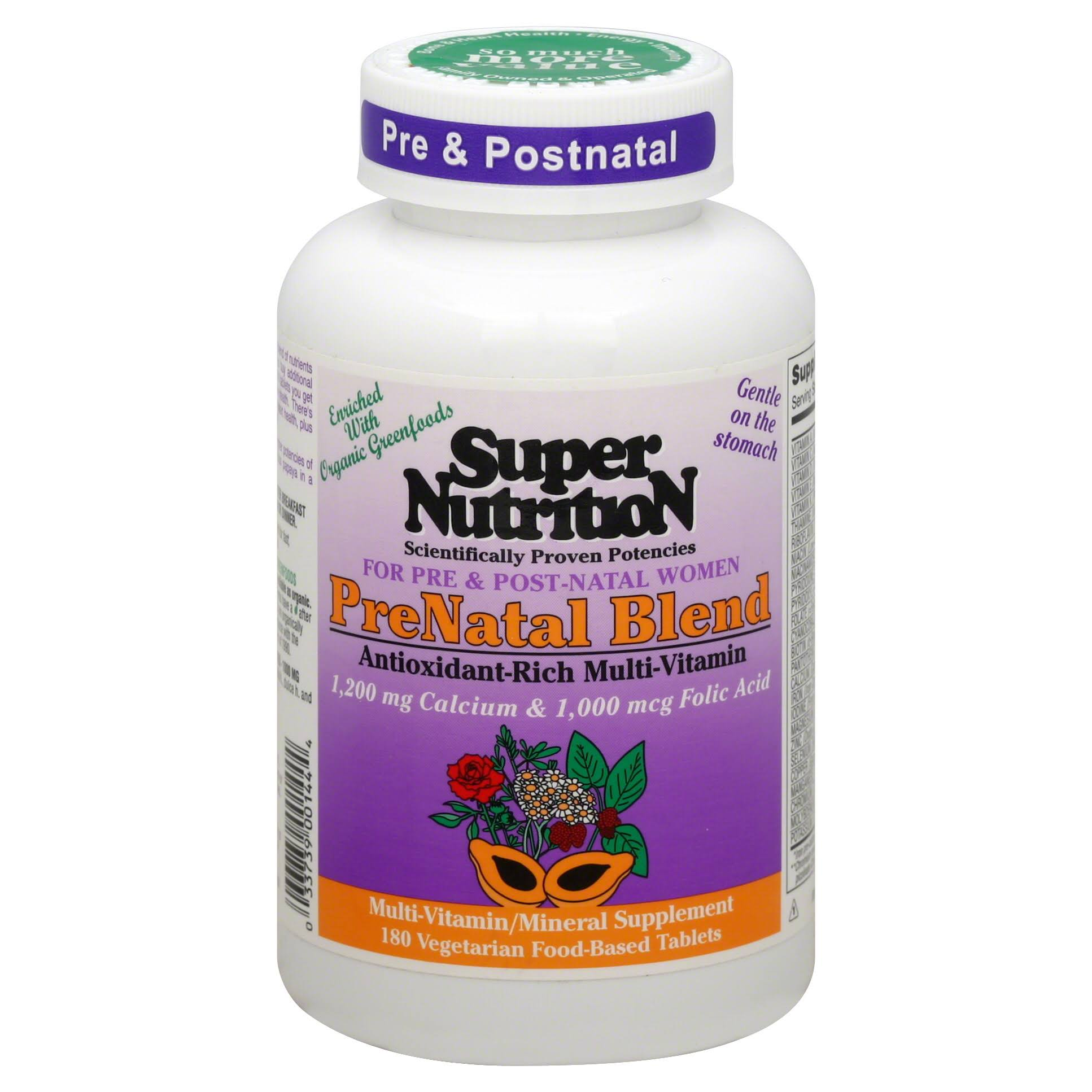 Super Nutrition Prenatal Blend Antioxident Rich Multi-vitamin - 180ct