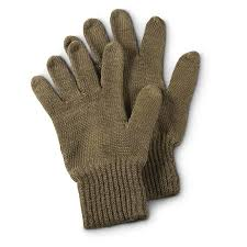 4 prs of new swedish military wool glove liners olive drab