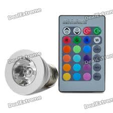 e27 3w rgb color light 1 led bulb w remote ac 85 265v
