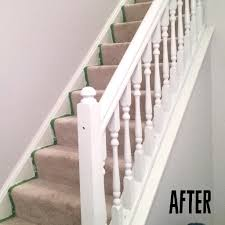 Spray Painting An Oak Banister White | LC Interior Remodelaholic Stair Banister Renovation Using Existing Newel Model Staircase 34 Unique Images Ideas Design Amazoncom Cardinal Gates Shield 5 Roll Clear Baby Gate For Stairs With Diy Best For And Spindles Flat Or Gloss New 40 Gorgeous Christmas Decorating Large Home Decorations Insight The Is Painted Chris Loves Julia 15 Ft Child Safety Indoor Guardks How To Update A Less Than 50 Marlowe Lane Installing Without Drilling Into Insourcelife