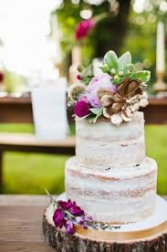 Purple And Gold Floral Topped Naked Cake
