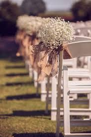 Rustic Burlap And Babys Wreath Aisle Decoration