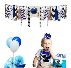 E&L Cookie Monster 3 In 1 Baby Boy High Chair Decorations Set, High Chair  Banner & One Adventure Themed Crown & One Cake Topper, For Baby Boy  Birthday ...