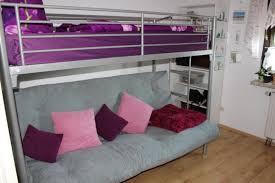 metallhochbett silberfarben matratze und couchfunktion