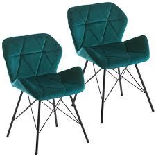 duhome 2er set esszimmerstuhl stoff samt petrol blau grün konferenzstuhl vintage design stuhl retro