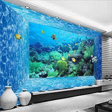 aquarium dans le mur papier peint salon monde marin créature corail aquarium mur