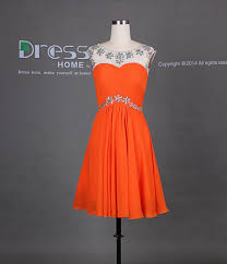 orange rhinestones beading cap sleeve chiffon knee length