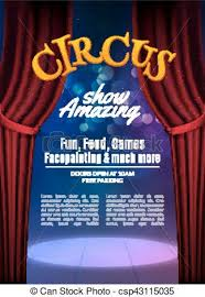 Circus Show Poster Template With Sign Festive Invitation Vector Carnival Background