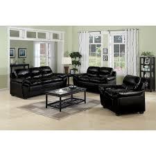 Luxury Black Leather Sofa Set Living Room Inspiration Best Regarding Furniture