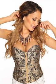 womens clothing corsets gold neckline shimmer floral textured