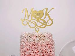 Wedding Cake Topper Monogram Custom Letter Gold Initials Rustic Silver Engagement