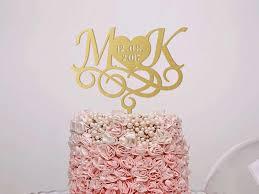 Wedding Cake Topper Monogram Custom Letter Gold Initials Rustic Silver Engagement