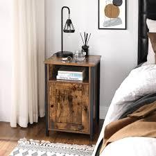 vasagle nachtschrank beistelltisch mit ablage offenes fach metallgestell industrie design 40 x 40 x 60 cm für schlafzimmer wohnzimmer