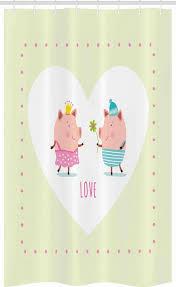 abakuhaus duschvorhang badezimmer deko set aus stoff mit haken breite 120 cm höhe 180 cm schwein boy gabe eine blume romantische kaufen