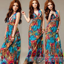 women casual bohemia ice silk halter peacock pattern long dress