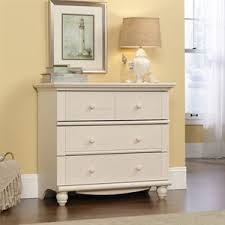 sauder shoal creek dresser in soft white finish beach style with