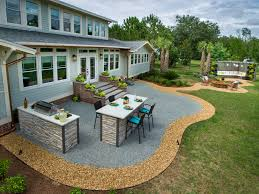 backyard patio design ideas and concrete on a budget trends