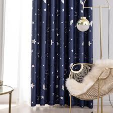 fenstervorhang gedruckt moon solid vorhang vorhänge wohnzimmer schlafzimmer vorhang ösen kinderzimmer 100x130cm navy blau