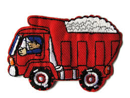 100 Red Dump Truck With Driver Embroidered Iron On Patch Applique