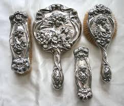 Vanity Mirror Dresser Set by Unger Bros Art Nouveau Sterling Silver He Loves Me 4 Pc Mirror