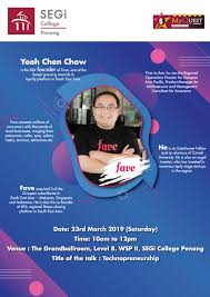 100 Chen Chow Technopreneurship Sharing Session Mr Yeoh CoFounder Of