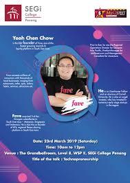100 Chen Chow Technopreneurship Sharing Session Mr Yeoh Co