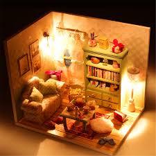 Wooden Dollhouse Miniatures DIY House Kids LED Light Large Villa