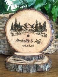 Rustic Mountain Wedding Cake Topper Tree Wood