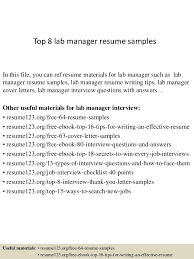 Top 8 Lab Manager Resume Samples In This File You Can Ref Materials For