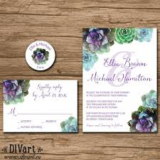 Succulent Wedding Invitation Suite Response Card Monogram