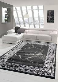 teppich wohnzimmer marmor optik mit klassischer bordüre in schwarz silber größe 80x150 cm