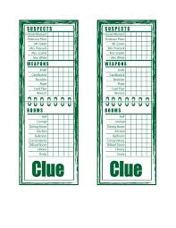 8 Best Images Of Free Printable Clue Game Sheets
