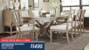 Bridgewater Weathered Oak 5-Piece Trestle Dining Set   Haynes Furniture Standard Fniture Rossmore 7 Piece Rectangular Ding Set Dunk Maison Ranges Room Just Imagine The Beautiful Dinner Parties You Could Throw With This China White Nordic Event Party Table Tms Lucca 5 Multiple Colors Walmartcom 50 Outdoor Ideas You Should Try Out This Summer Tables And Chairs For Sale Wooden Buy Aspenhome New Year Christmas Style Chair Cover Decoration 2017 Bay Isle Home Solange Reviews Wayfair 5pcs Metal 4 Breakfast Black Dinner Mistana Thomasson
