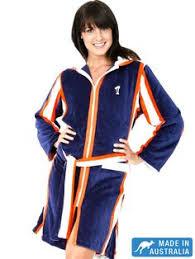 Sport Swim Robe Parka For Women In Navy With Striking White Orange Stripes