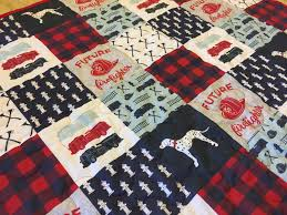 100 Fire Truck Bedding Baby Quilt Crib Quilt Crib Baby Boy Patchwork Style Etsy