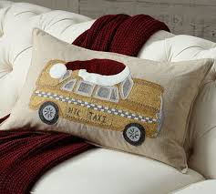NYC Yellow Taxi Embroidered Pillow Cover