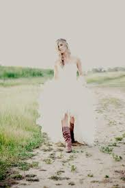 Rustic High Low Tulle Wedding Dress With Cowboy Boot