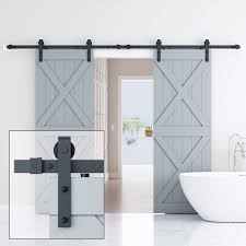ELICIT 10FT Double Barn Door Hardware Classic Design Standard Track With Upgraded Nylon Bearings For 30in Wide Sliding DoorPanel Easy