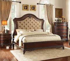 Traditional Cherry Wood Eastern King Low Profile Bed Tufted Headboard
