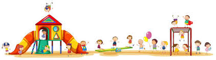 Playing Set Poster Showing Children Enjoying The Playset Outside Stock Illustration
