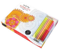 Vive Le Color Vitality Adult Coloring Book And Pencils Therapy Kit