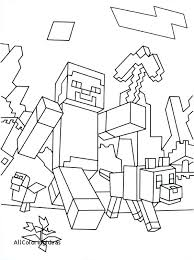 Minecraft Coloring Pages Sword Free Printable Steve With A