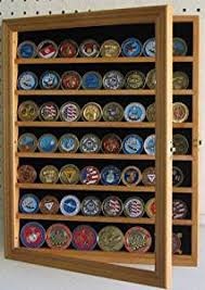 Get Quotations 56 Military Challenge Coin Display Case Cabinet Wall Rack Medal Flag Coin56