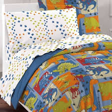 dream factory dinosaur blocks 7 piece bed in a bag with sheet set