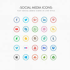 Minimal social media icons pack Vector