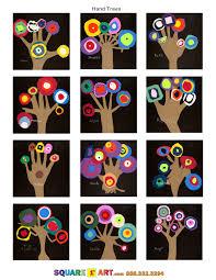 Hand Trees Medium Construction Paper Scissors White Crayon Square1art