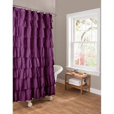 Pink And Purple Ruffle Curtains by Essential Living Ruffle Purple Shower Curtain Walmart Com