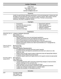 Software Specialist Resume Example
