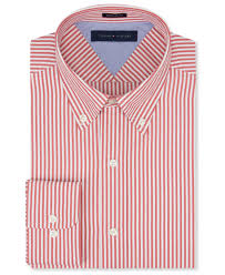 tommy hilfiger red bengal stripe dress shirt in red for men lyst