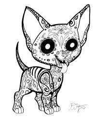 Coloring Pages Day Dead Dogs Sugar Skull Chihuahua Pictures Of